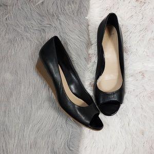 COLE HAAN Black Leather Peep Toe Elsie Wedge